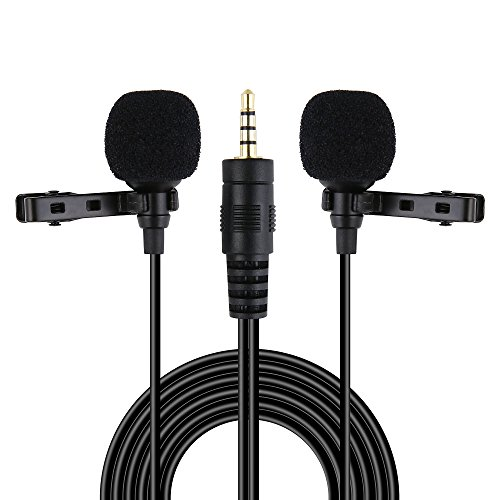 Riqiorod 20FT Dual Lavalier Microphone, Lapel Interview Clip-on Mini Omnidirectional Condenser Mic with TRRS to TRS Adapter for iPhone Android Smartphones iPad Media Player Xbox One Gaming Laptop, by Riqiorod