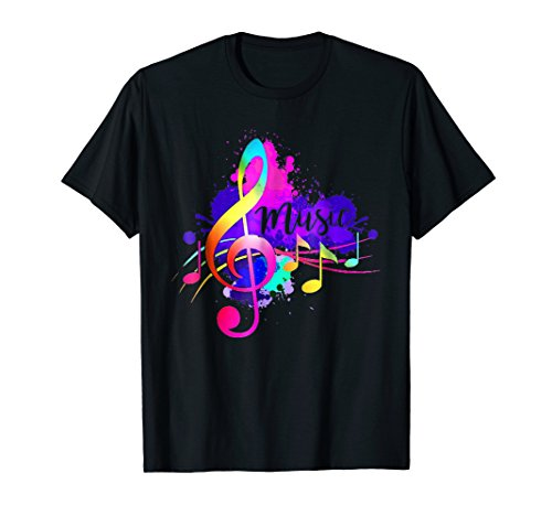 Funky Colorful Music Treble Clef Musical Note T-Shirt