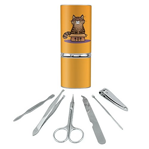 Cat Sitting in Box Stainless Steel Manicure Pedicure Groomin