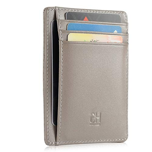 GH GOLD HORSE Slim RFID Blocking Card Holder Minimalist Leather Front Pocket Wallet for Women (Grey)
