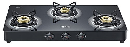 Prestige Royale Plus Aluminum 3 Burner Gas Stove, Black (40177)