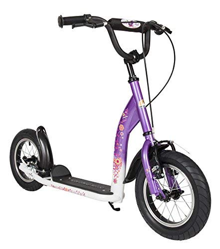 (BIKESTAR Original Safety Pro Sport Push Kick Scooter Kids with Brakes, Mudguard and air Tires for Age 7 Year Old Children | Sport Edition with Alloy Wheels 12 Inch | Candy Purple & Diamond White )