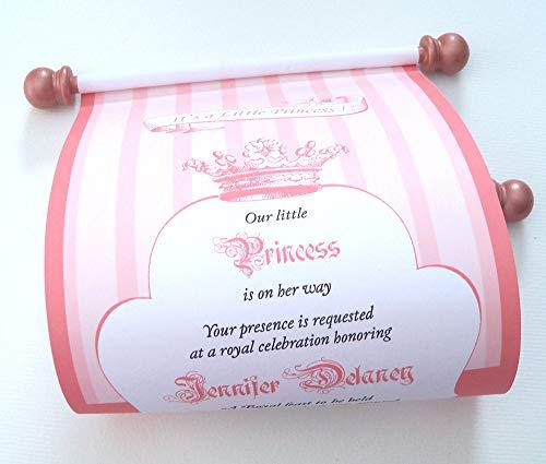 Little Princess Baby Shower Invitation Scrolls, Rose gold, 5