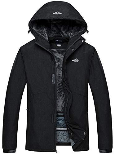 Wantdo Men's Waterproof Warm Snow Jacket Hooded Fleece Lined Winter Outwear Raincoat Wind Breaker for Skiing(Black, Large)