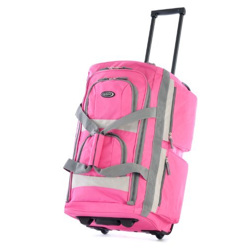(Olympia Luggage Sports Plus 22 Inch 8 Pocket Rolling Duffel Bag, Hot Pink, One Size)