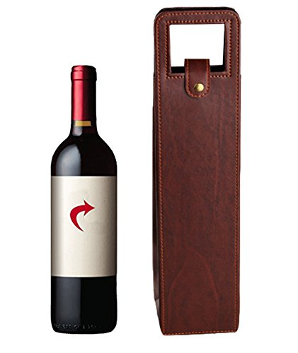Yunko Upscale Leather Wine Bottle Protector Wine Tote Carrier Bag Reusable Gift Bag Single Wine Champagne Bottle Carrier Case Portable Travel Accessory (Single Wine Tote)