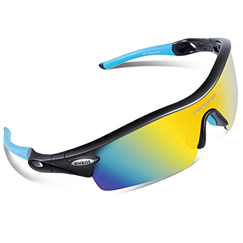 RIVBOS 805 Polarized Sports Sunglasses Sun Glasses with 5 Set Interchangeable Lenses for Men Women Cycling - Sunglasses Flip Baseball