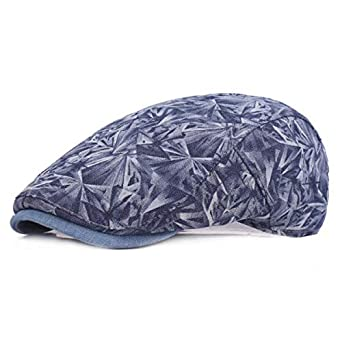 7a038a126 SPA Mens Cotton Diamond Printing Beret Hat Casual Outdoor Adjustable ...