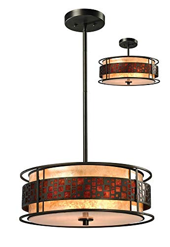 Z-Lite Z18-50P-C 3-Light Pendant with Metal Frame, White and Amber Mica ()