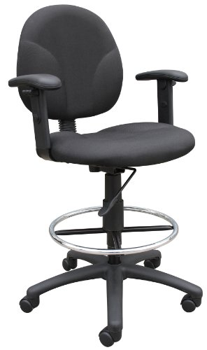 Boss Office Products B1691-BK Stand Up Fabric Drafting Stool with Adjustable Arms in Black by Boss Office Products