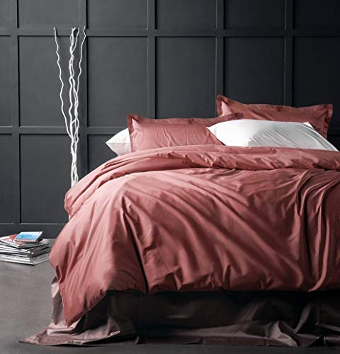 - Solid Color Egyptian Cotton Duvet Cover Luxury Bedding Set High Thread Count Long Staple Sateen Weave Silky Soft Breathable Pima Quality Bed Linen (Queen, Dusty Cedar)