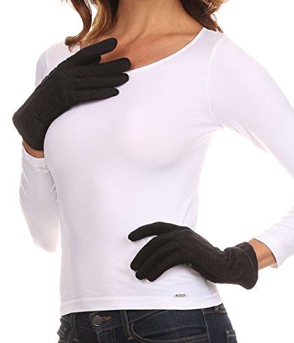 Sakkas CMZ1524 - Paislee Extra Soft Knitted Touch Screen Wrist Length Winter Glove - Black - L/XL