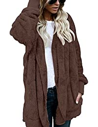 Women Fuzzy Fleece Jacket Open Front Hooded Cardigan Coat Outwear Pockets