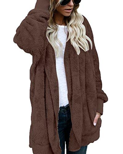 Womens Fuzzy Sherpa Fleece Cardigan Long Sleeve Knit Coat with Pocket Coffee XXL ()