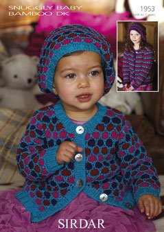 (Sirdar Snuggly Baby Bamboo DK Childs Cardigan Pattern 1953 Birth - 7 years - D)