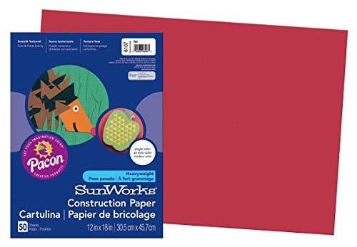 "SunWorks Construction Paper Orange  9/"" x 12/"" 50 Sheets Heavyweight Groundwood"