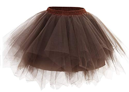 Kileyi Womens Tutu Costume Adult Party Dance Tulle Skirt Short Fluffy Petticoat Brown S