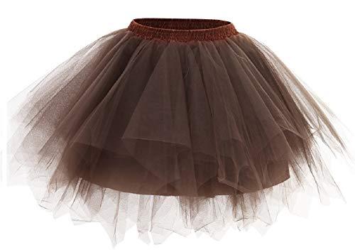Kileyi Womens Tutu Costume Adult Party Dance Tulle Skirt Short Fluffy Petticoat Brown M -