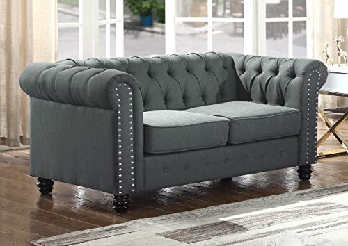 - Best Master Furniture YS001 Venice Upholstered Loveseat, Charcoal