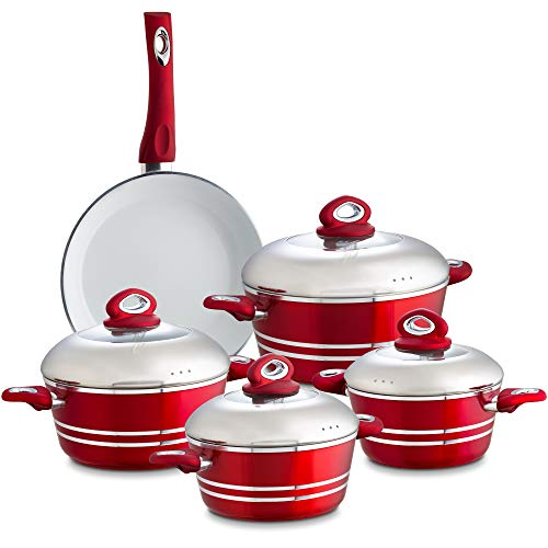 Chef's Star 9 Piece Professional Grade Aluminum Non-stick Pots & Pans Set - Induction Ready Cookware Set