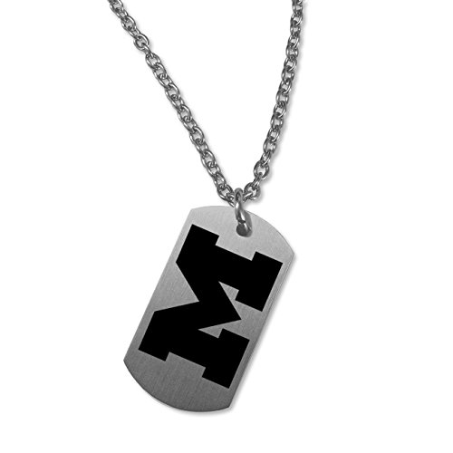 College Jewelry Michigan Wolverines Satin Finish Stainless Steel Dog Tag Necklace (22in Chain)