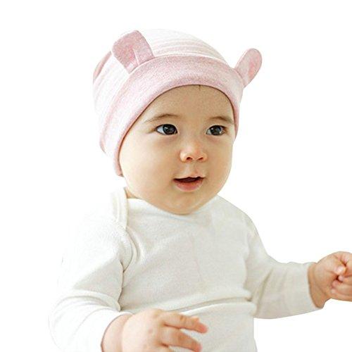 (PanDaDa Newborn Baby Little Ears Striped Baby Beanie Infants Warm Hat Caps)