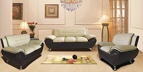 Container Furniture Direct S5398-S+C Michael Sofa and Chair Set, Camel/Black