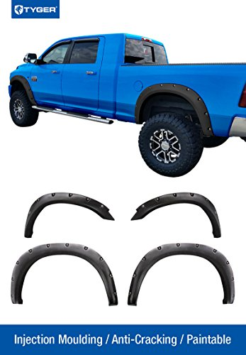Tyger Auto TG-FF8D4138 For 10-16 Ram 2500 / 3500 (With 76.3 & 98.3 Truck Bed ONLY), Matte Black Pocket Bolt-Riveted Style Fender Flare Set, 4 Piece (Fender Flares For 2011 compare prices)