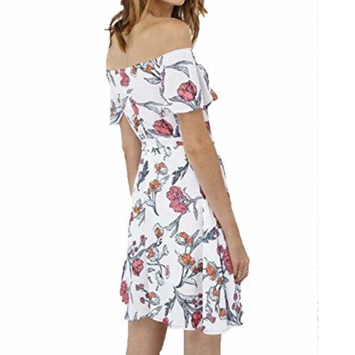 De Floral De Mujer Impresión Moda Vestido De Flores White De 1UwEnEqaA