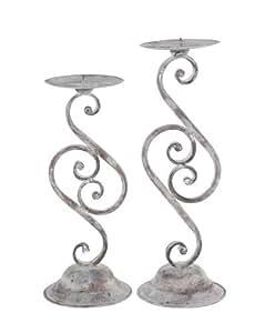 Vela soporte de vela artferro, metal, 11,5x 11,5x 33cm encalada gris antikgrau Shabby Vintage estilo rústico mano de Exner