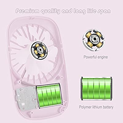 Aluan Handheld Fan Mini Fan Powerful Small Personal Portable Fan Speed Adjustable USB Rechargeable Cooling for Kids Girls Woman Home Office Outdoor Travel, Pink