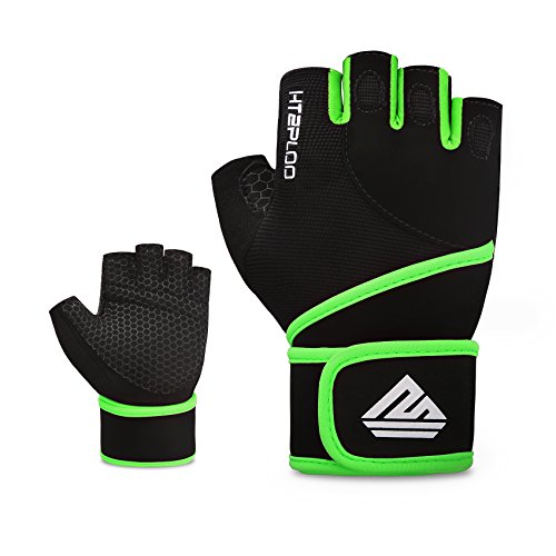 HTZPLOO Weight Lifting Gloves Fitness Gloves Gym Gloves With Wrist Wraps Full Palm Pad & Enhanced Grip for Bodybuilding, Cross Training, Fitness Exercise Men & Women (Black&Green, (Power Wrist Wrap Performance Gloves)