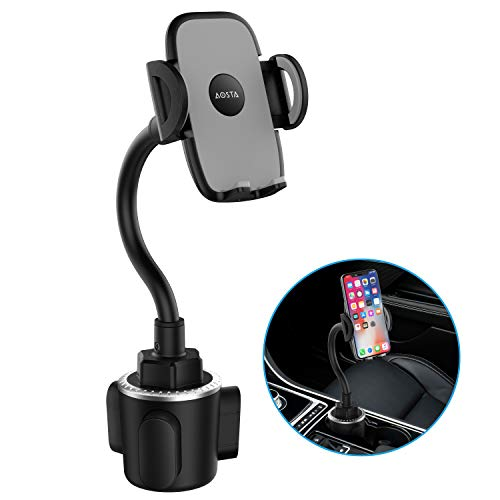 Updated Car Phone Mount with 360° Adjustable Gooseneck for Car Cup Holder, Hands-Free Car Phone Holder for iPhone, Samsung Galaxy, Google Pixel, Nexus, Moto and More