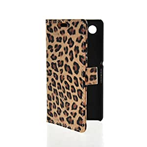Mayawell Credit Card Slot Holder Leopard Skin Stand Movie Wallet Side Flip Leather Pouch Cellphone Case Cover for Sony Xperia E2 Brown