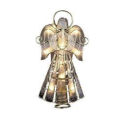 Kurt Adler 10-Light Capiz Angel Treetop with Vines and...