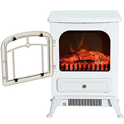 White Portable Electric Fireplace Stove Heater Adjustable LED Flames with Ebook