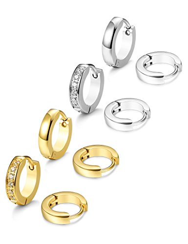 JOERICA 4 Pairs Stainless Steel Small Hoop Earrings for Men Women Ear Piercing,SG
