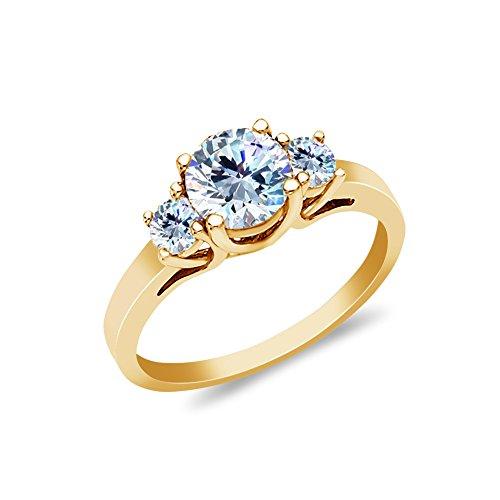 Gold 14k Stone Tri - Ioka - 14K Solid Yellow Gold 1 Ct. 3 Round Tri Stone CZ Wedding Engagement Ring - Size 6.5
