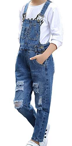 Denim Jean Romper - Big Kids Girls Long Jumpsuit Denim Light Blue Wide Leg Jumpsuit Romper Jean Suspender 4-5Y Light Blue