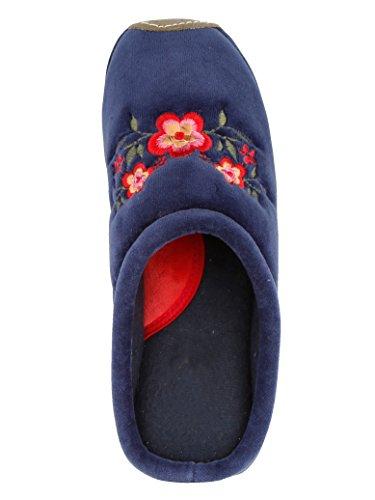 KLiNGEL Pantoffel Blau Schönem mit Blütenaufdruck T6wxrTqU