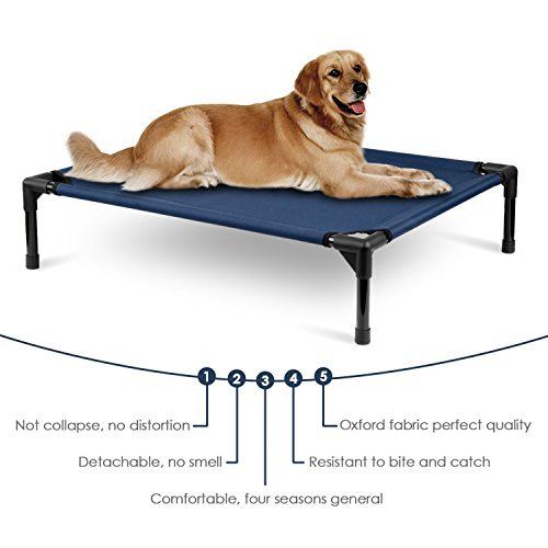 Amzdeal chew proof dog bed elevated washable dog cot cat for Dog proof material