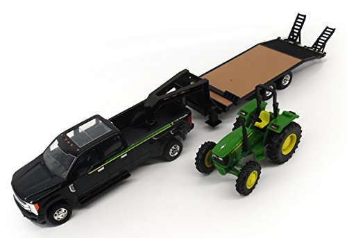 (ERTL Ford Pickup with Gooseneck Trailer & John Deere Tractor Vehicle)