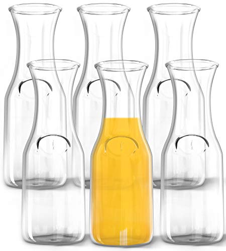 1 Liter Glass Carafe, 6 Pack - Elegant Wine Decanter and Drink Pitcher - Narrow Neck For Comfortable Grip, Wide Mouth For Easy Pouring - Great for Parties and Events - Kitchen Lux