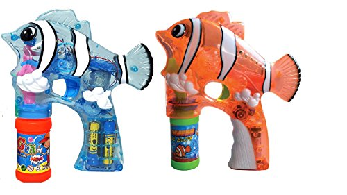 (LilPals Handy-Dandy Bubble Shooter - FELY The Fish with Light and Sounds with Bubble Solution for Kids 3 Years Old and Above (Orange and Blue))