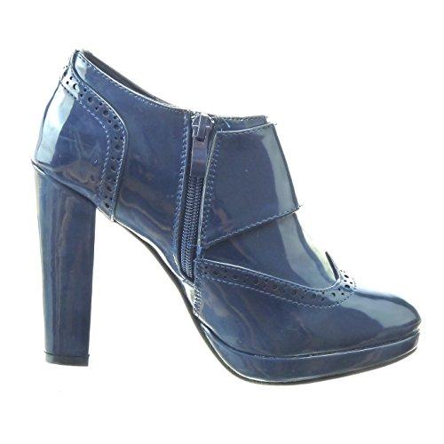 Sopily - Scarpe da Moda Stivaletti - Scarponcini low boots zeppe alla caviglia donna fibbia lucide perforato Tacco a blocco tacco alto 11 CM - Blu