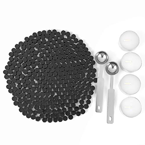 Black Sealing Wax Beads, Yoption 300 Pieces Octagon Seal Wax Beads with 4 Candles and 2 Melting Spoons for Wax Seal Stamp (Black) (300 Beads)