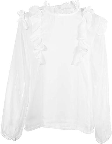 Camisa de Gasa para Mujer, Blusa con Volantes para Mujer Top Manga Larga Cuello Alto Camisa Blanca de Gasa Informal(M): Amazon.es: Ropa y accesorios