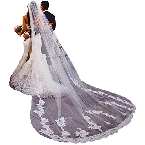 JoJoHouse Lace Wedding Veil 120 Inch Cathedral Length 1 Tier Bridal Veil no Comb LTS28 White