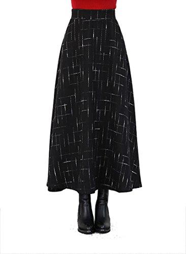 Womens Warm Wool Elastic Waist Plaid Maxi A-line Skirt (Large, - Stretch Long Womens Wool Skirt