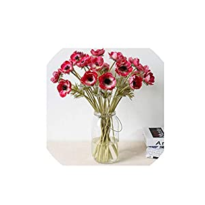 Wild-World DECOR 7PCS Artificial Anemones Flowers Real Touch Poppy Branches Burgundy Center for Wedding Bouquets Centerpieces DIY Home Decoration 79